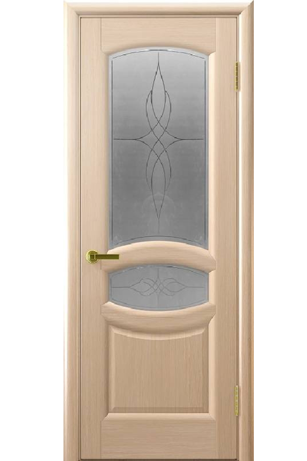 Ульяновские Двери Натуральный шпон Анастасия Беленый Дуб Стекло Узор