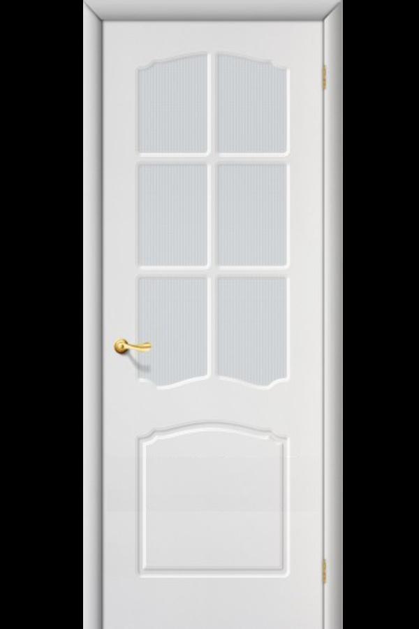 Межкомнатные двери ПВХ , Ламинированные Классика Остекленная Белая