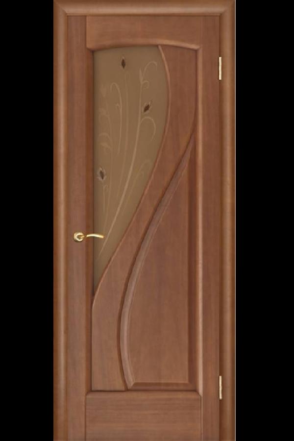 Ульяновские Двери Натуральный шпон Мария Темный Анегри Стекло Фьюзинг
