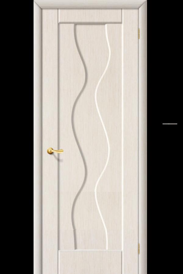 Межкомнатные двери ПВХ , Ламинированные Волна Глухая Беленный Дуб