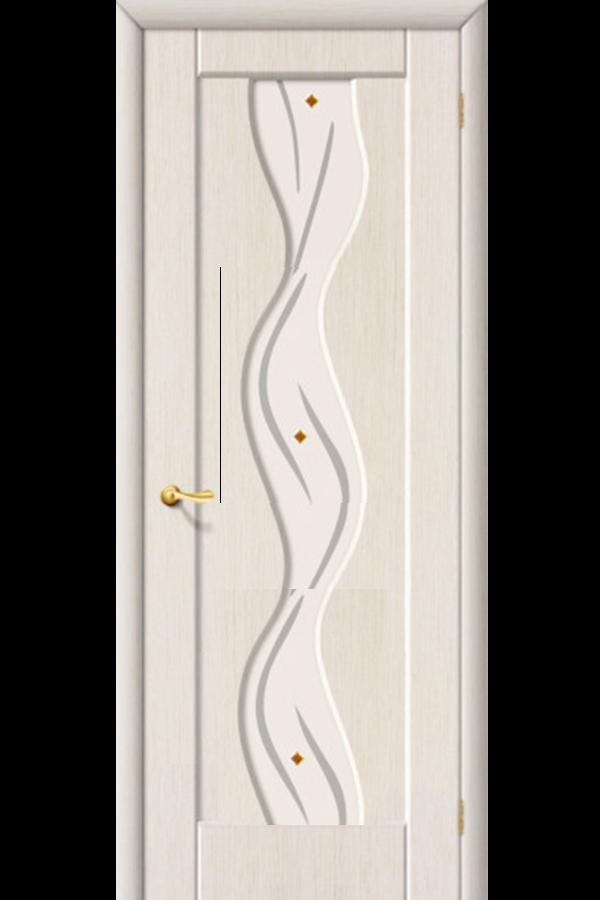Межкомнатные двери ПВХ , Ламинированные Волна Остекленная Беленный Дуб