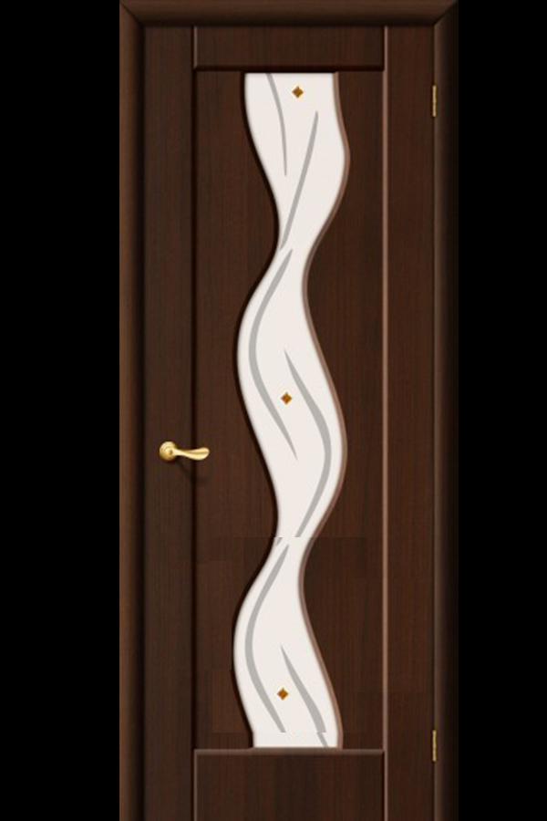 Межкомнатные двери ПВХ , Ламинированные Волна Остекленная Венге