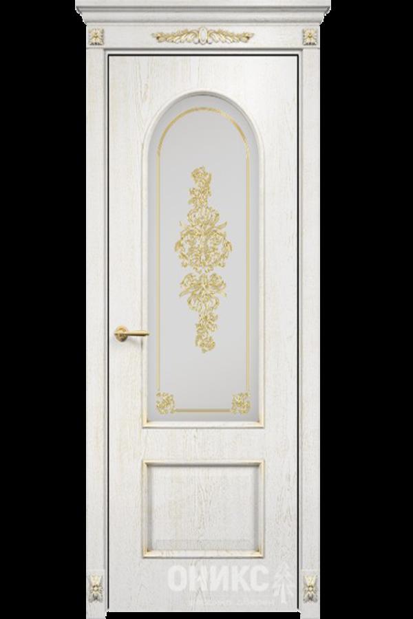 Арка Эмаль белая патина золото сатинат белый контурный витраж №3 золото + Капитель + Розетки